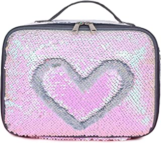 Manicer Sequin Lunch Box, Insulated Sparkle Lunch Bag Flip Color Change Reversible Fashion Lunch Tote, Ideal for Girls, Women and Kids - Laser Silver + Pink
