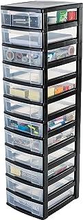 Iris Ohyama, tour de rangement sur roulettes à 12 tiroirs - New Chest - NMC-012, plastique, noir/transparent, 30 x 38 x 12...
