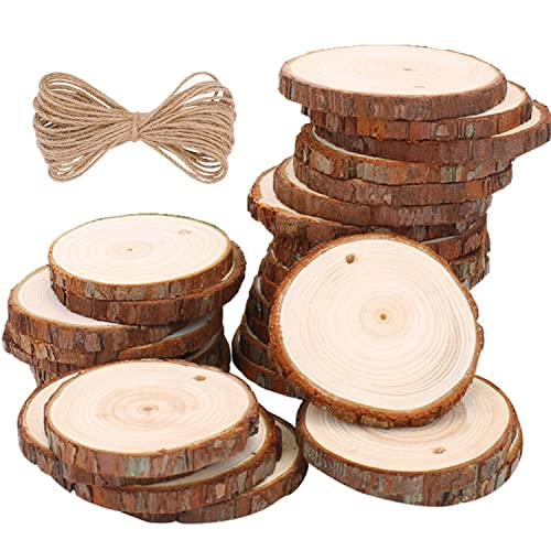 2baaa5d91f Wood Slices TICOSH Natural Wood Slices 6-7 cm 30 PCS Drilled Hole  Unfinished Log