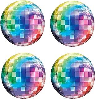 70's Disco Laser Ball Balloons Hangable 4Pcs 22in 4D Large Inflatable Sphere Aluminum Foil Balloon Mirror Metallic Balloon Birthday Party Wedding Baby Shower Decor 70s Color
