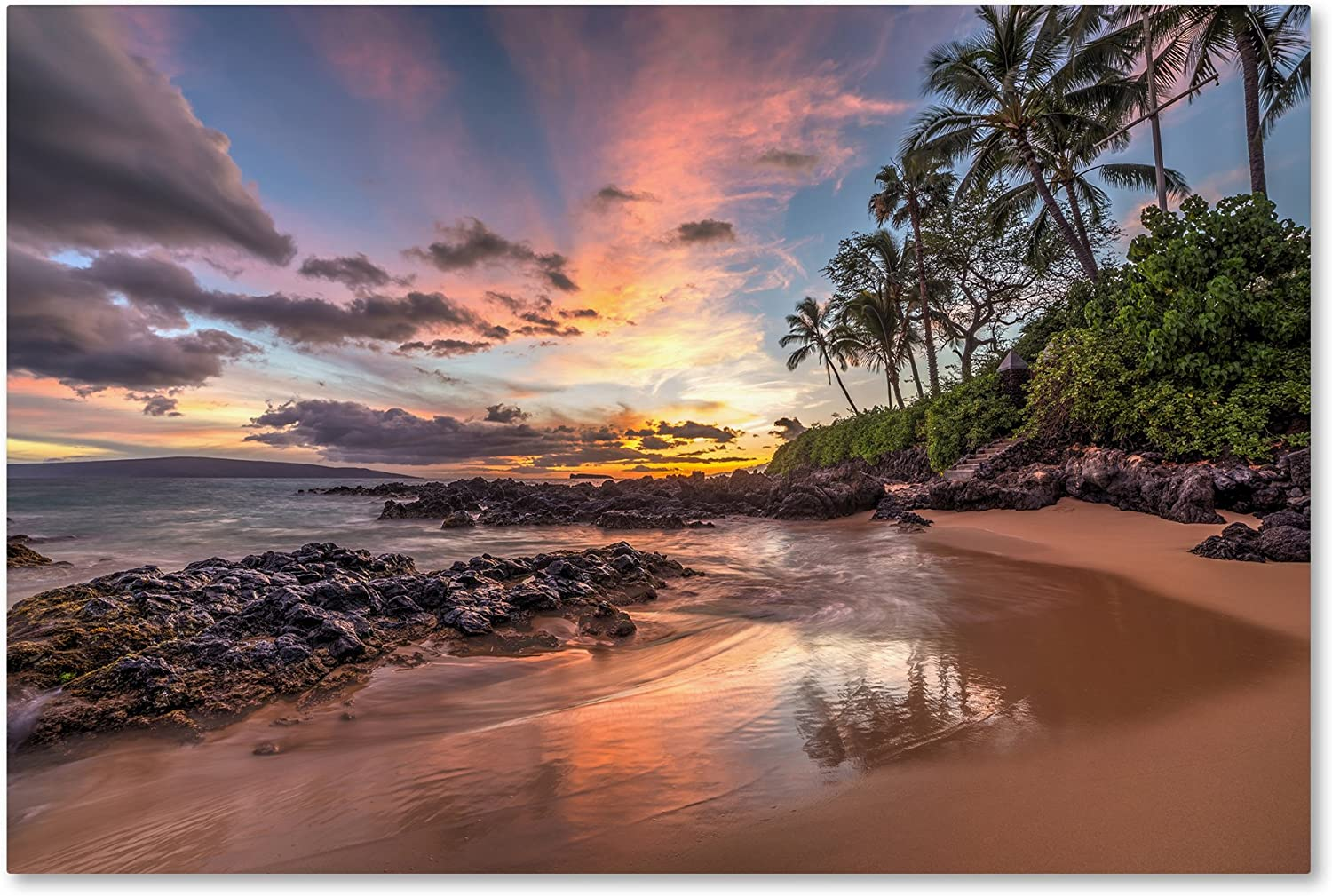 Hawaiian Sunset Wonder By Pierre Leclerc 22x32 Inch Canvas Wall Art Posters Prints