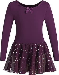DANSHOW Girls Ballet Leotard Kids Long Sleeve Dance Leotard Dress with Glitter Tutu Skirt
