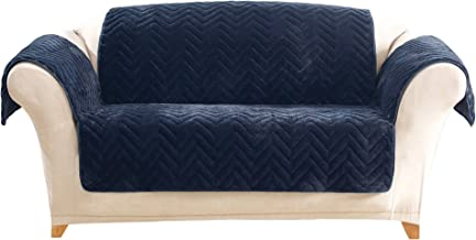 SureFit Quilted Faux Fur Navy Loveseat Furniture Cover