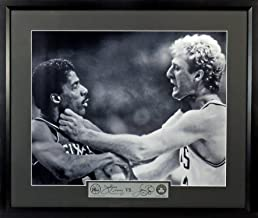 Boston Celtics Larry Bird vs. Philadelphia 76ers Julius Erving 16x20 Photograph (SG Signature Engraved Plate Series) Framed