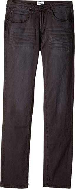 Hudson Kids Jagger Fit Slim Straight Fit French Terry in Black Raw/Tonal (Big Kids)