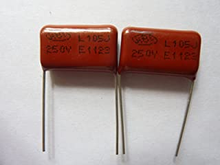 E-First 50PCS CL21 105J 250V 1UF 1000NF P20 Metallized Film Capacitor Pitch=20mm