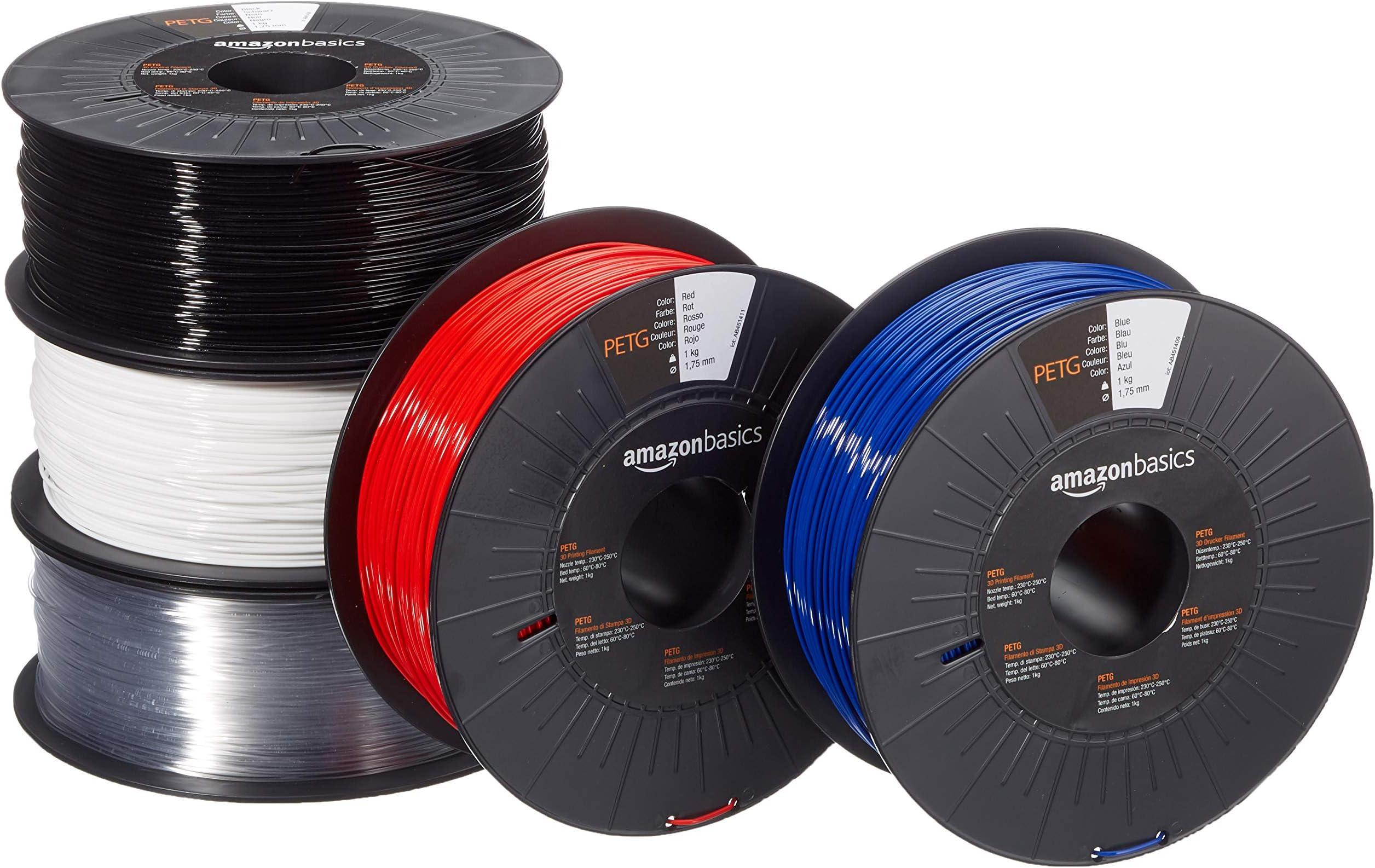 Amazon Basics PETG 3D Printer Filament, 1.75mm, 5 Assorted Colors, 1 kg per Spool, 5 Spools