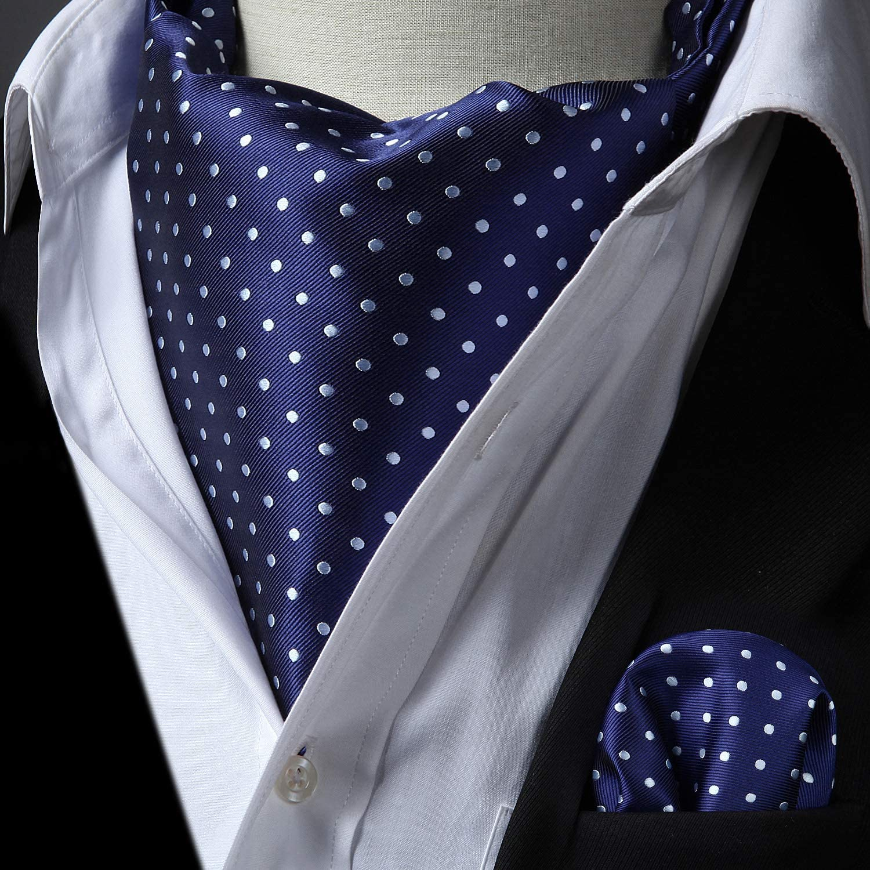 HISDERN Herren Krawattenschal Polka Dot Streifen Plaid Ascot Krawatte Floral Hochzeit Halst/ücher und Einstecktuch Set