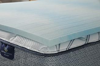 Serta Comfort Cool Gel Memory Foam Mattress Topper, Full, Grey