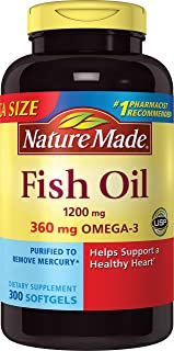 Nature Made 1200mg of Fish Oil, 2400 per Serving, 360mg of Omega-3, 300 Softgels, 300 Count (Pack of 1)