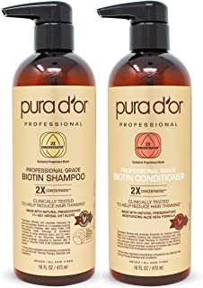 PURA D'OR Professional Grade Biotin Anti-Hair Thinning 2X Concentrated Actives Shampoo & Conditioner Set Clinically Tested - Sulfate Free, Natural Ingredients - Men & Women (Packaging may vary)