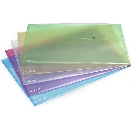 Rapesco 0697 Pochette Porte-Documents Pastel avec Bouton-Pression, A3, Couleurs Assorties