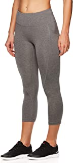 Women's Printed Capri Leggings with Mid-Rise Waist Cropped Performance Compression Tights - Flint Grey Heather, X-Large