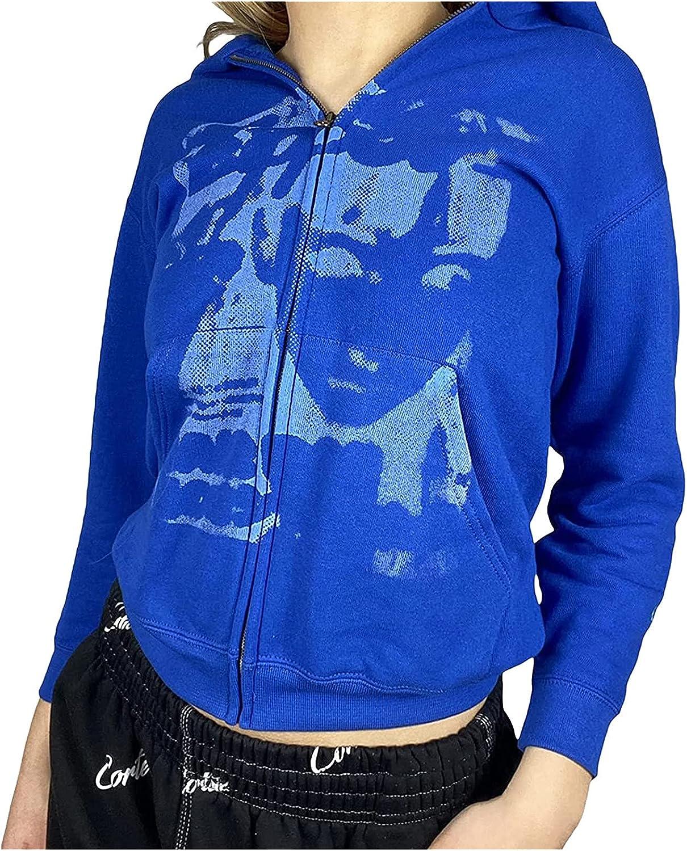 Womens Y2k Zip Up Hoodies Casual Loose Graphic Printed Long Sleeve Hoodie Sweatshirt with Pockets