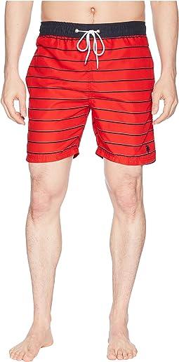 "7"" Pinstripe Print Swim Shorts"