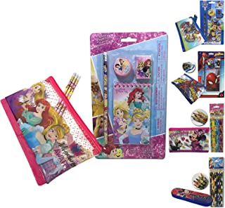 Disney The Princess Stationery Study Set Included Pencil Sharpener Eraser Notepad with Multi-uses Pencil Pouch for Kids Girls School Supplies