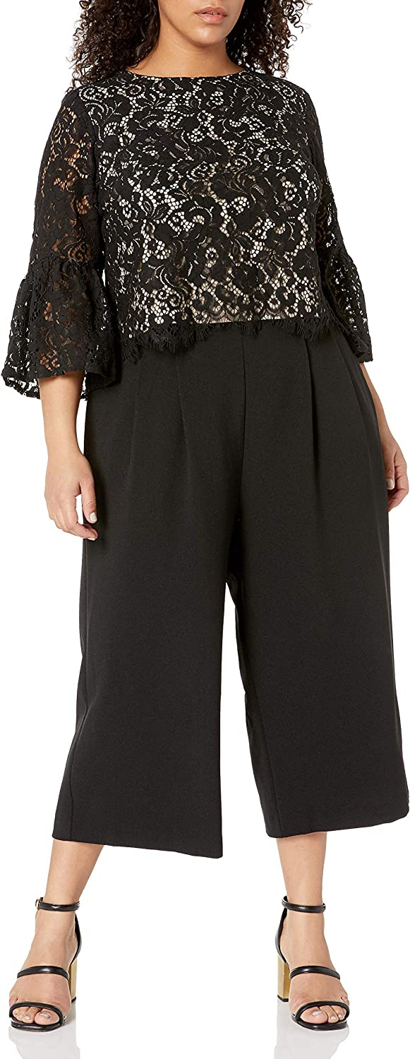 Jessica Howard Plus Size Lace Top & Cropped Pant Set