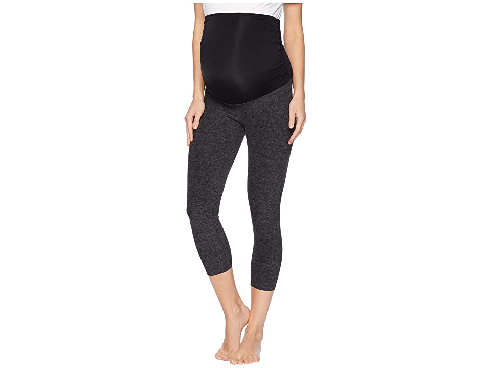 Beyond Yoga Fold Down Maternity Capri Leggings (Black Charcoal) Women