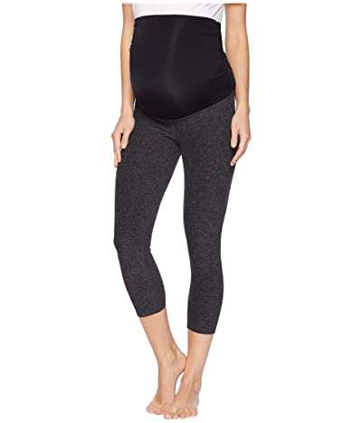 Beyond Yoga Fold Down Maternity Capri Leggings (Black Charcoal) Women