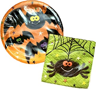 Happy Haunts Decorations Party Plates 7 inch and Napkins Set Halloween Party Supplies (16 Piece Set)