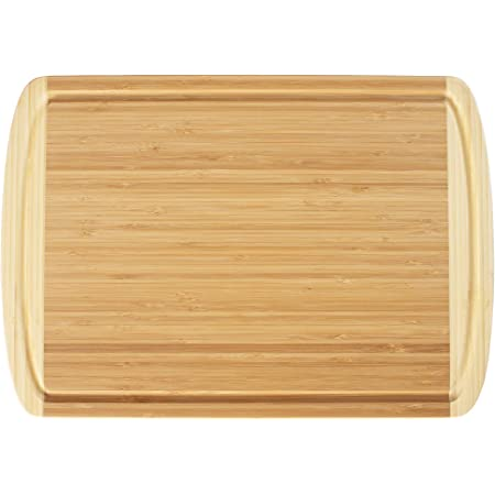 """Totally Bamboo Kona Bamboo Carving & Cutting Board with Juice Groove, 18"""" x 12-1/2"""", Natural Two Tone"""
