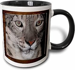 3dRose Snow Leopard Close up, Two Tone Black Mug, 330ml