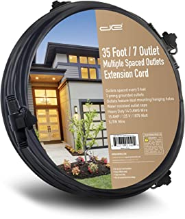 Digital Energy 35 FT Evenly Spaced Multiple Outlet 14/3 Extension Cord, Outdoor/Indoor - 7 Outlets Every 5 Feet, Christmas Lighting, Holiday Decorations, Uplighting, Stage Backlines