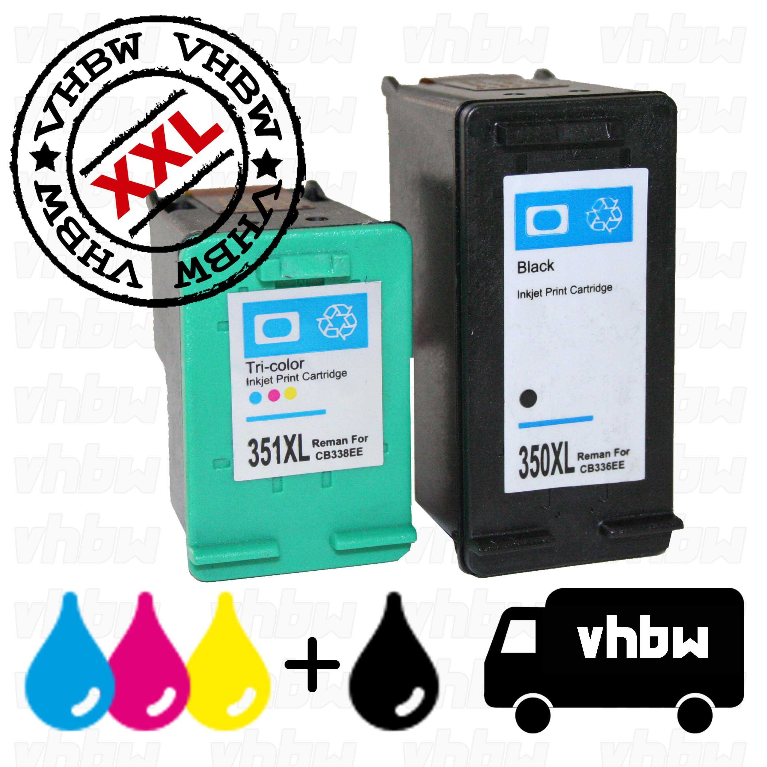 vhbw Cartuchos de Tinta Reciclado Negro + Color Compatible con HP ...