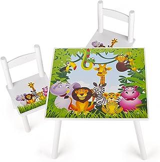 Leomark Conjunto Infantil de Mesa y 2 Sillas Madera, Juego de Blanco Muebles Infantiles para Niños, Estable, Diversión y Aprendizaje, Fácil Montaje, Motivo: Diseño de Animales, Altura: 42 cm