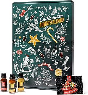 Mexican Tears - Scharfe Sauce Adventskalender mit 24 unterschiedlichen Chilisaucen in wiederverschließbaren Glasflaschen, limitierte Auflage 24x20ml Chili Sauce
