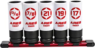 ARES 59000-5-Piece 1/2-Inch Drive Non-Marring Lug Nut Socket Set - Protective Sleeves and Inserts Prevent Damage to Wheels and Lugs - Storage Rail Included