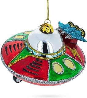 BestPysanky UFO/Alien Saucer Blown Glass Christmas Ornament