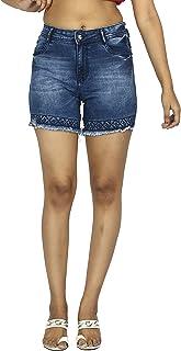 FCK-3 Women's Embellished Denim Short-300-Dcloud
