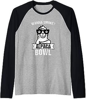 Wanna Smoke Alpaca Bowl | Funny Weed Sayings Marijuana Shirt Raglan Baseball Tee