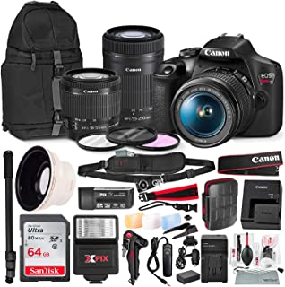 Canon T7 EOS Rebel DSLR Camera with EF-S 18-55mm f/3.5-5.6 is II and 55-250mm f4-5.6 is STM Lenses + UV Filter Set + Power Kit & 64GB SD Card Platinum Bundle