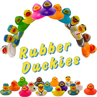 Fun Central 50 Pack - 2 inch Mini Rubber Duckies - Small Rubber Duck Bath Toys for Toddlers, Boys, Girls in Bulk - BPA Free