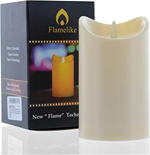 Flamelike candles - Flameless Candle with Timer. Non Wax. Unscented LED Moving Wick Flame. Battery Operated. Realistic. Be...