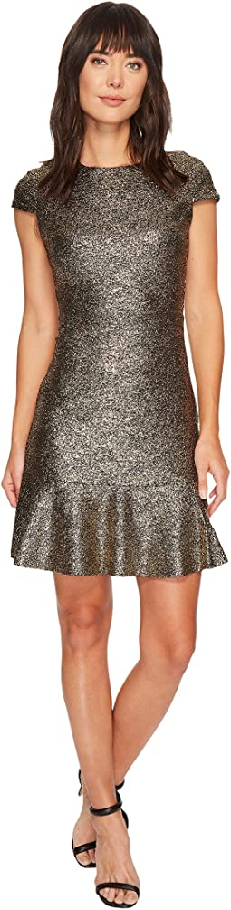 MICHAEL Michael Kors - Foil Knit Short Sleeve Flounce Dress