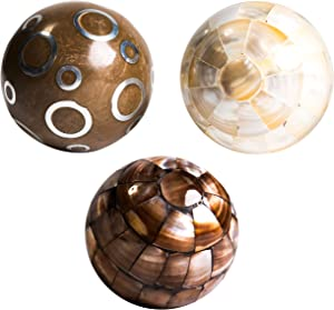 """Beautiful Handmade Small Decorative Balls for Bowls - Ideal Accent Decor for Bowls, Trays & Vases, Decorative Balls Set of 3 (3"""" each)"""