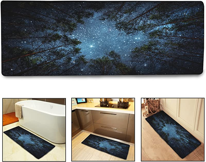 QiyI Bath Mat Rug Super Soft Non Slip Machine Washable Quickly Drying For Office Door Mat Kitchen Dining Living Hallway Bathroom 16 X48 The Forest Under The Stars