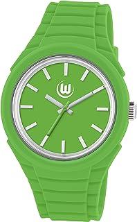 Sportliche VfL Wolfsburg Armbanduhr grün Silikon mit Uhrwerk Miyota 2035