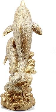 Dalax- Pair of Dolphin Figurine Design Decorative Statue Sea Animal Sculpture Marine Life Designs Gift-Decor Collection for H