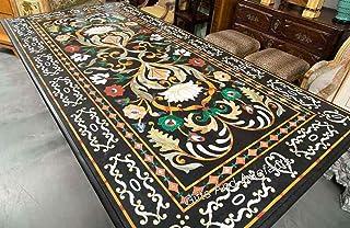 Gifts And Artefacts Table de salle à manger rectangulaire en marbre avec incrustation de table de couloir Noir 36 x 84 cm