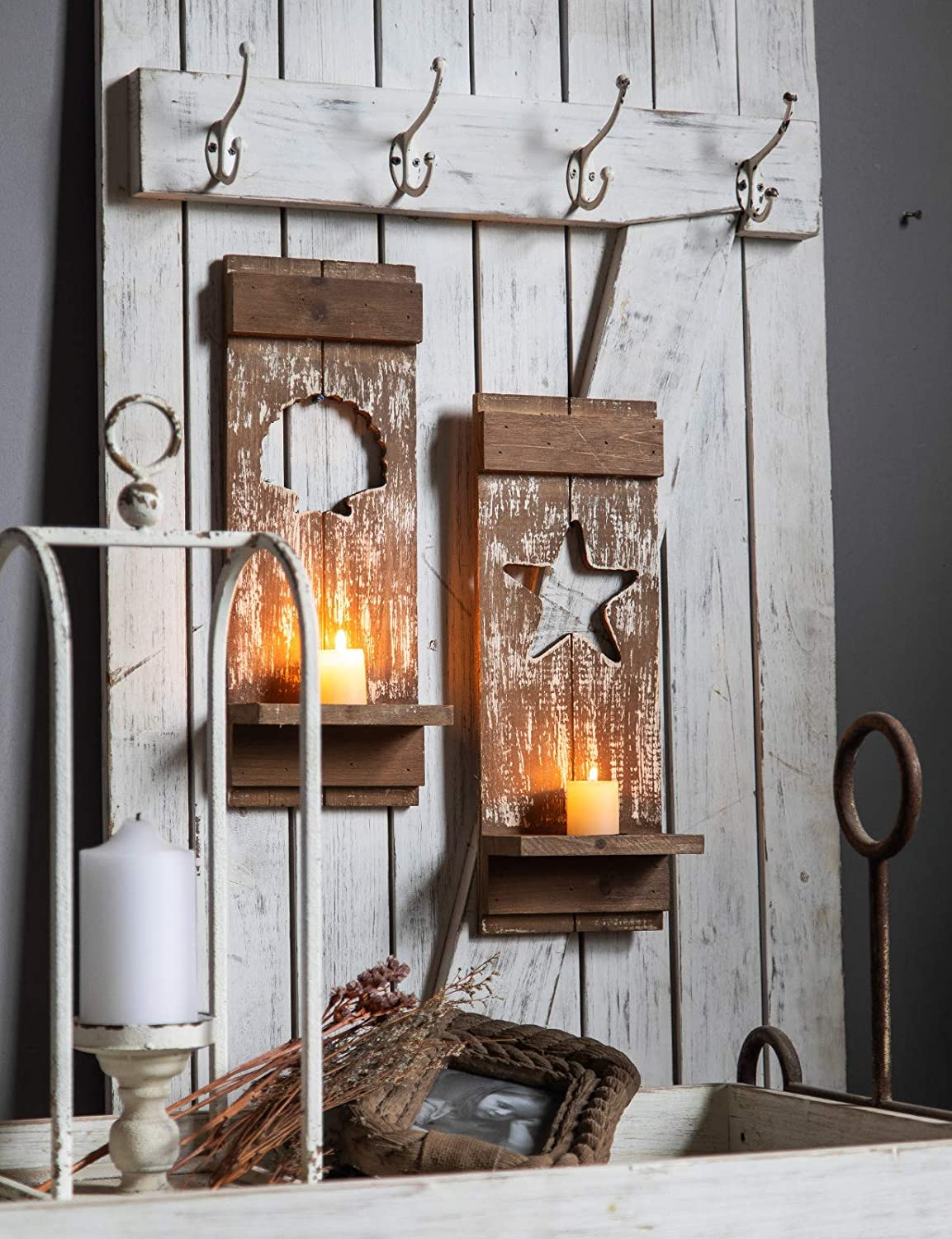 5.9 x 3.1 x 15.7, Shell Vintage Candle Sconce Wall Decor for Living Room Antique Brown Wooden Hanging Wall Mounted Candle Holder Rustic Wall Sconce Candle Holder for Pillar Candle Dining Room