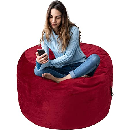 Amazon Basics Memory Foam Filled Bean Bag Chair with Microfiber Cover - 3', Red