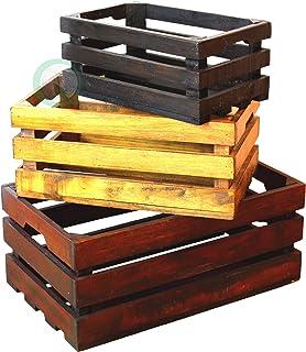 Vintiquewise Decorative Old Coloured Wooden Crates, Multi-Colour, 3-Piece
