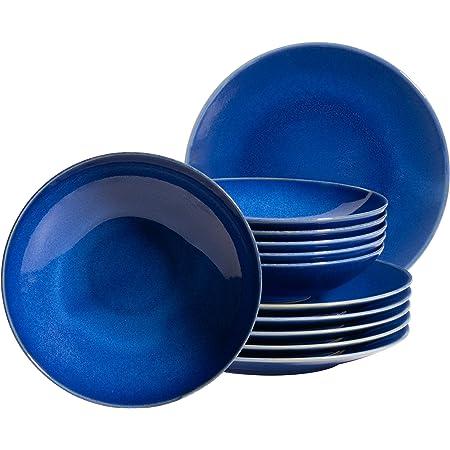MÄSER Ossia 931733 Service de table moderne 12 pièces avec assiettes creuses et assiettes plates Bleu foncé