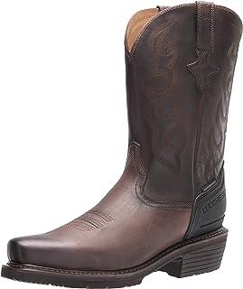 حذاء عمل برقبة طويلة رجالي ذو خياطة غربية مقاس 30.48 سم من لوكيزي، مقاس متوسط بمقدمة مربعة