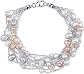 THE PEARL SOURCE 4-5mm Genuine Multicolor Freshwater Cultured Pearl Lilly Bracelet for Women