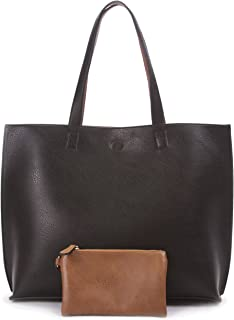 Reversible Tote Bag - Vegan Leather Womens Shoulder Tote with Wristlet
